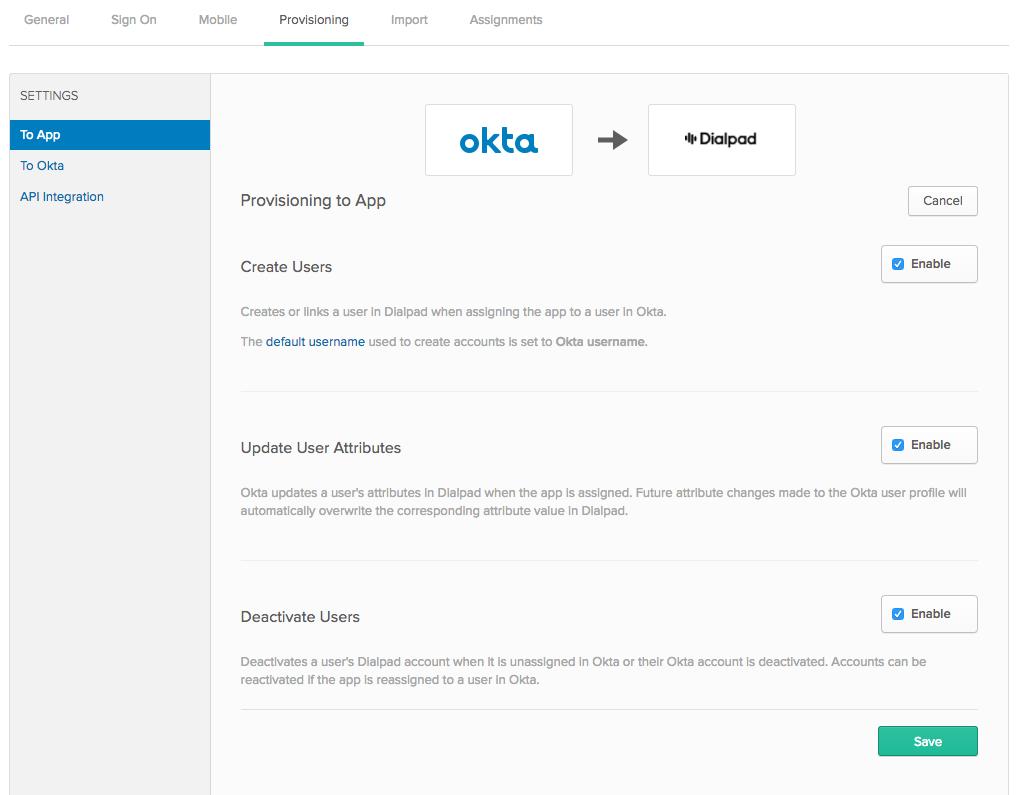 Manage Users with Okta SCIM – Dialpad