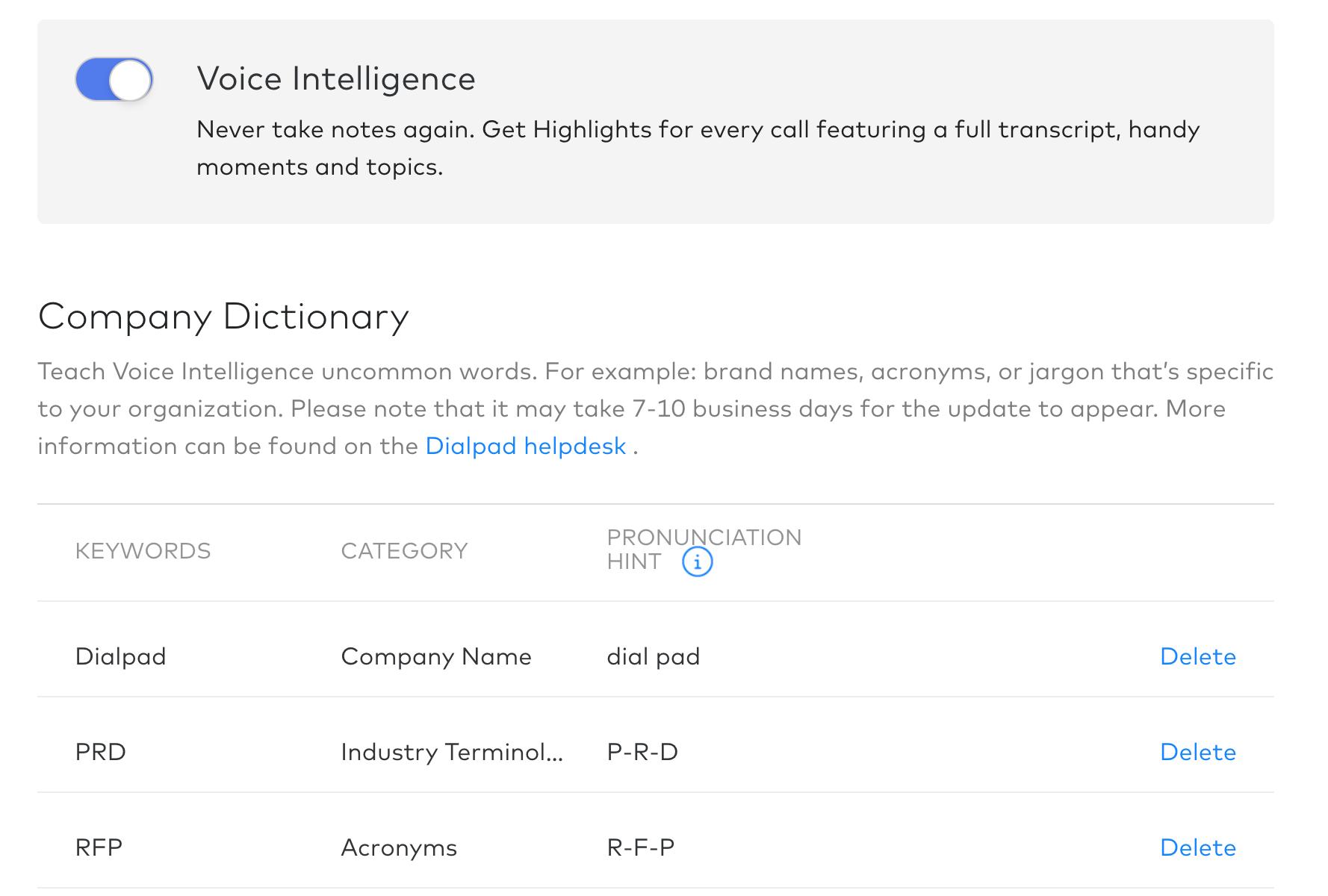0ee3c4254f7327 Voice Intelligence Custom Dictionary